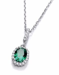 Sterling Silver Chain Necklace Emerald Green Oval Cubic Zirconia Charm Pendant