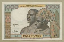 WEST AFRICAN STATES - 1000 francs  1959  P4  About EF   Banknotes