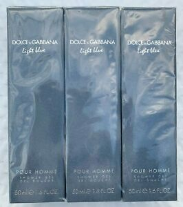 3 Dolce & Gabbana Light Blue Shower Gel for Men  1.6 oz ea, NIB Factory Sealed