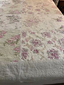 Romantic Vintage Roses Patchwork Quilt 86x88 queen #793