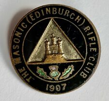 More details for shooting badge masonic rifle club edinburgh 1907 vintage enamel badge brooch fit