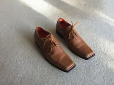 Men's, Hush Puppies, tan leather, square toed, lace-up shoes, Size 8 / 42