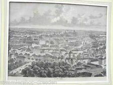LO1027 Breslau Ansicht aus der Vogelperspektive Holzstich n Reiche Passepartout