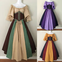UK Women's Vintage Celtic Medieval Floor Length Renaissance Gothic Cosplay Dress
