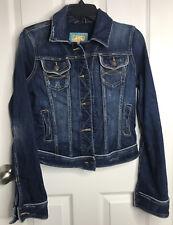 Abercrombie and Fitch: Women's Jean Jacket Dark Blue Distressed Medium