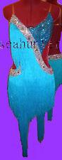 Les femmes Salle de Bal Latin Rumba Salsa CHA Danse Dress US 6 UK 8 deux Blue Fringe