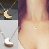 Fashion Women Silver Gold Chain Crescent Moon Pendant Necklace delicate Jewelry