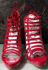 Red Patent Gladiator Stiletto w Tie Closure on Heel by Wild Pair, Size 8, NWB