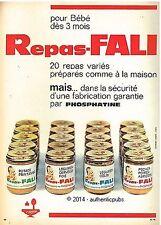 PUBLICITE PHOSPHATINE FALI REPAS PETIT POT POUR BEBE DE 1963 FRENCH AD VINTAGE