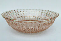 Jeannette Pink Glass Round Serving Bowl Holiday Buttons & Bows Saw Tooth Edge