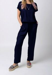 Ladies Jumpsuit with short sleeve -Blue All-in-one Playsuit (PEONYBLUE)