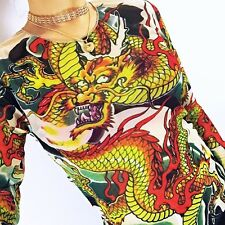 Y2k 90s Oriental Dragon mesh stretchy long tee fits UK 6 8 10 12 BRAND NEW