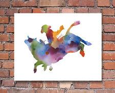 Bull Rider Abstract Watercolor Painting Art Print by Artist DJ Rogers
