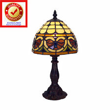 Tiffany-Style Mosaic Stained Glass Amber and Bronze Art Deco Table Lamp