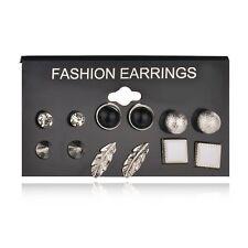 6 Pair Women Retro Silver Alloy Feather Earrings Ear Stud Fashion Jewelry Set