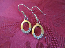 Gold Plated Crystal Charm Wire Fashion Earring Pair