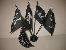 "Pirate Pirates 5 Different Flags 4""x6"" Desk Set Table Stick Black Base"