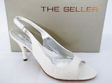 THE SELLER WHIPS WHITE PATENT CROC EFFECT LEATHER HEELS SHOES WOMENS UK 7-EUR 40