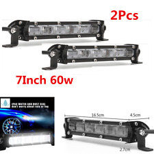 2Pcs 7'' 12V 60w Slim LED Light Bar 6D Flood Beam Car SUV Off Road Universal