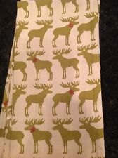 CYNTHIA ROWLEY 2 CHRISTMAS WINTER  KITCHEN TOWELS CREAM WITH MOOSE  COTTON NWT