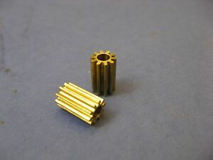 2X Brass 10 tooth pinion gear 3mm I.D.hole 10mm long 6.33mm O.D. 10T gears 48p