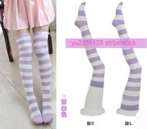 Women Cute Lolita Purple Stripe Over-knee Stocking Thigh High Sock Size S-L