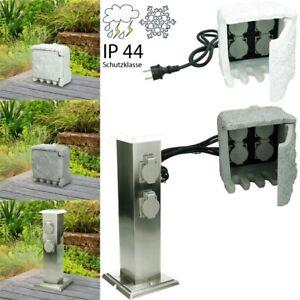 Prise électrique de jardin bloc de 4 prises pierre gris ou borne de courant