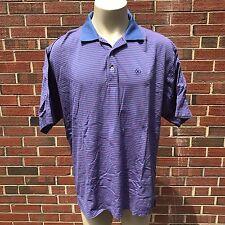 Peter Millar Golf Men's XL Blue Striped Polo Shirt 100% Cotton Casual Shirt