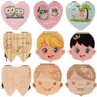 French Kids Teeth Tooth Storage Box Organizer Baby Boy Save Milk Wood Boxes CH