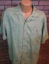 Island Shores Men's Hawaiian/Camp/Casual Shirt Sz L Rayon Blend Green S/S C7-9