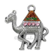 3PCs Bedouin Camel Wholesale Charm Pendants With Pink Rhinestones - C6060