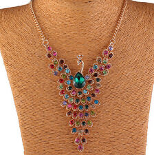 Charm Women Peacock Rhinestone Pendant Chain Choker Collar Bib Necklace Jewelry