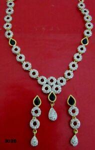 CZ Sapphire Bridal Necklace Set Light Weight Costume fashion Jewelry