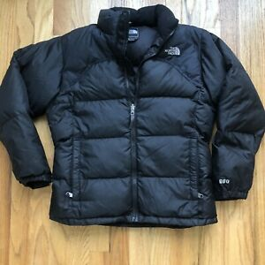 Girl's The North Face TNF Black Nuptse 600 Fill Down Puffer Puffy Jacket Sz L