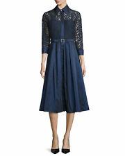 Rickie Freeman for Teri Jon Lace Full-Skirt Belted Cocktail Shirtdress 3705ce39d