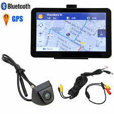 "7"" 4GB Car GPS Mirror Navigation Bluetooth AV-IN Sat Nav+Backup Rear View Camera"
