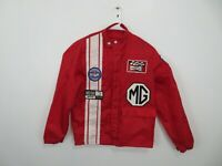 Vintage MG Racing Jacket Full Zip Red Auto Sport Stripe Patches Mens Size Small?