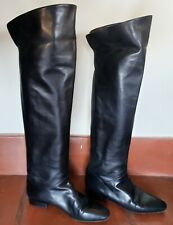 ESCADA BUTTERY SOFT BLACK LEATHER OVER THE KNEE THIGH BOOTS - US 6/6.5 EU 36.5