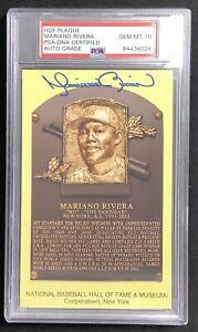 Mariano Rivera Signed Gold HOF Plaque Postcard Yankees Auto PSA/DNA GEM MT 10