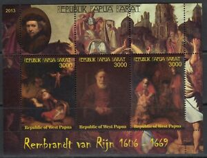 Rembrandt Painting  Arts 2013 West Papua MNH 3 v S/s set  perf