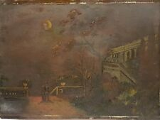 19th Century Victorian Oil Painting On Metal Panel 'Walk In Moonlight' - 1889