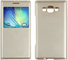 FOR SAMSUNG GALAXY E5 luxury Golden Color Window Leather FLIP COVER CASE