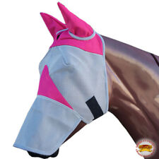 Horse Fly Mesh Mask Spring Summer Airflow Uv Mosquitoes  Equine Pink U-04-W