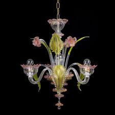 Torcè lampadario in vetro di Murano 3 luci cristallo oro rosa verde