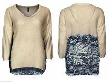 3/4 Arm Damen-Pullover mit V-Ausschnitt aus Acryl-Mischung