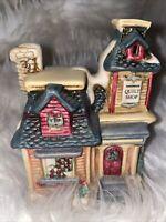 🎄RARE Vintage Lighted Quilt Shop Christmas Village Decoration CUTE