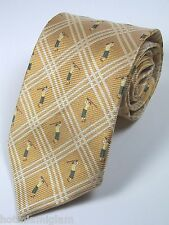 Off Island by Tommy Bahama yellow and gold golfer 100%silk