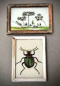 VINTAGE INDIAN REVERSE GLASS PAINTINGS. BEETLE & HIMALAYAN SKYLINE. DECO FRAMES.