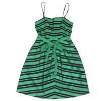 Moulinette Souers Anthropologie Vivid Green Striped Summer Princess Dress - 0