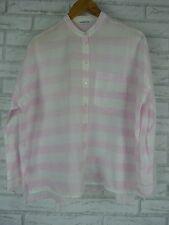 COUNTRY ROAD Shirt/Blouse Sz XS, 8, 10 Oversized Pink, White Stripe 100% Cotton